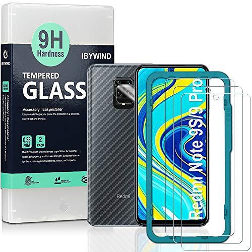 Ibywind Displayschutzfolie für das Redmi Note 9S / Redmi Note 9 Pro [2 Stück] mit Kamera Schutzfolie, Carbon Fiber Skin für die Rückseite, Inklusive Easy Install Kit (Zentrierrahmen)