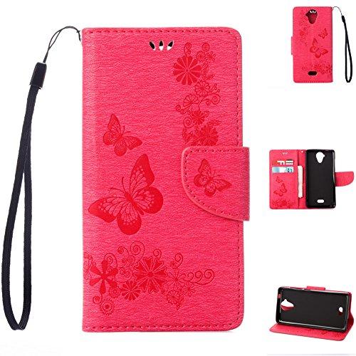 Wiko U feel Lite Handyhülle Book Case Wiko U feel Lite Hülle Klapphülle Tasche im Retro Wallet Design mit Praktischer Aufstellfunktion - Etui Rot