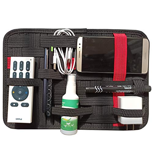 LZVTO Elastic Organizer Board Electronic Accessories Travel Organizer Bag, Shockproof 9.45 x 7.48 Inches (Flip, Black and Red)