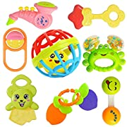 EARLY EDUCATION INFANT TOYS: When kids just begin to grasp things on purpose, shaking, pulling, rotating or on to teething.It contains 7 Rattles and 1 Teether. 100% Safety : This rattle is made of BPA Free ABS plastic of non-toxic eco-friendly materi...