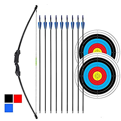 """iMay 45"""" Recurve Bow and Arrows Set Outdoor Archery Beginner Gift Longbow Kit with 9 Arrows 2 Target Face Paper 18 Lb for Teens (Black)"""