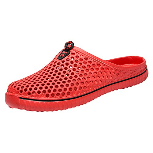 YWLINK Damen Herren Hohl Atmungsaktiv Hausschuhe Freizeit Couple Strand Sandale Bequem Klassisch Sandals Unisex(Rot,EU 37)