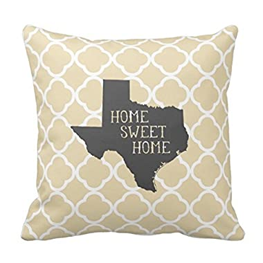 Home Sweet Home Texas Personalized Square Cotton Polyester Throw Pillow Case Decor Cushion Covers 18x18 Inches