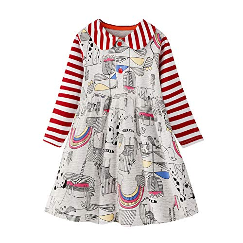 Winter Toddler Girl Clothes Unicorn Cotton Long Sleeve Girls Dresses for Kids 2-8 Years