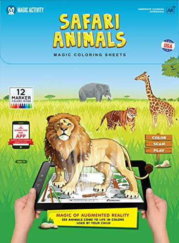 Magic Activity Safari Animals Coloring Book for Kids with 3D Augmented Reality - with 12 Coloring Markers Set, 8 Learning Games, 24 Animal Facts: Educational Toy for Kids (AR Mobile App Included)