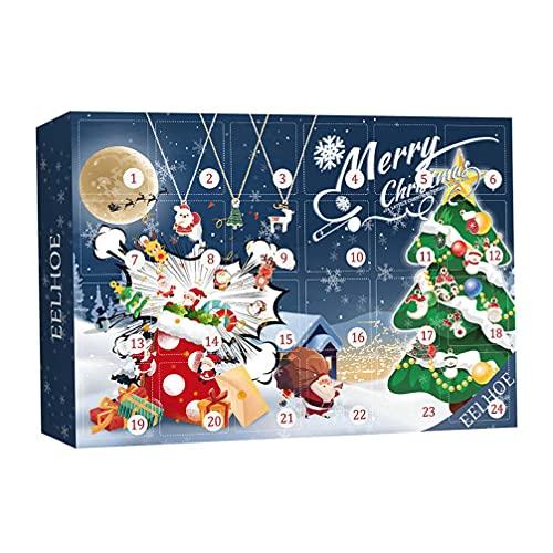 Artibetter Calendario de Cuenta Regresiva de Navidad Calendario de Adviento 2021 24 Días hacia Abajo Encantos de Navidad para Niños Adolescentes Adultos Niñas