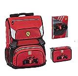 Mochila escolar Ferrari Kids extensible 2020 + estuche de 3 pisos completo + diario + llavero silbato + 10 bolígrafos con purpurina