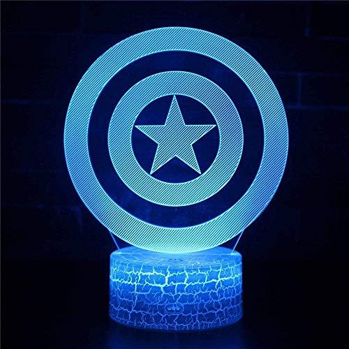 3D Illusion Lamp Led Night Light Captain America 3D boy Baby Creative Table Sleeping lamp