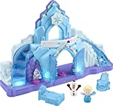 "​​Palace playset with lights, sounds, and the hit Disney Frozen song, ""Let It Go"" ​​Bottom Discovery Button ""magically"" reveals the staircase with lights and sounds ​​Top Discovery Button ""grows"" the castle with spinning snowflake action ​Includes El..."