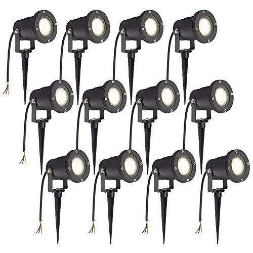 HENGMEI 12x3W Gartenleuchte LED Gartenstrahler GU10 mit Erdspieß IP65 Wasserdicht Warmweiß Garten Scheinwerfer Gartenlampe (ohne Stecker)