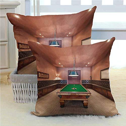 Modern Decorative Pillow Cover Entertainment Room in Mansion Pool Table Billiard Lifestyle Photo Print Premium Soft,Easy-Wash Microfiber 2PCS - W16 x L16 inch Cinnamon Brown Green