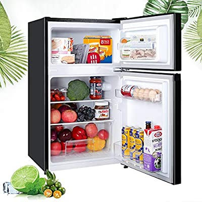 Mini Fridge with Freezer, TECCPO 3.0 Cu.Ft Compact Refrigerator with 7 Adjustable Temperature, 2 Reversible Door, Energy Star, Adjustable Glass Shelves, Upright for Dorm, Bedroom, Office, Apartment, RV, Black - TAMF17
