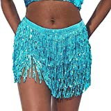 N /D Women 's Sequin Skirt Sexy Bohemian Tassel Mini Skirt Sparkle Stretchy Bodycon Wrap Skirts for Party Night Out (Blue, One Size)