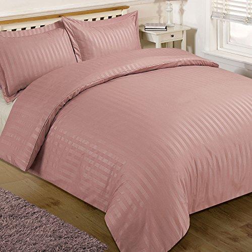 Brentfords Satin Stripe Duvet Cover with Pillow Case Bedding Set Blush Pink - King Size