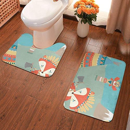 Woodland Party rutschfeste Badteppiche Komfortable Bodenmatte Superweicher und saugfähiger Badteppich Dicke Teppichmatten Set 2-teilig