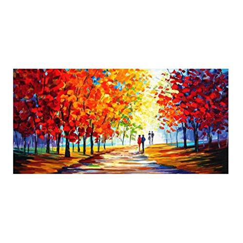 QUANHUA 100% Peinture à l'huile Peinte à la Main sur Toile, Couple, Tableau, Peinture Couteaux à Palette Paysage Abstrait,B,50×100cm