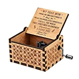 RUYE You are My Sunshine Music Box, Hand Crank Musical Box Vintage Wood Carved Engraved Musical Box-Gifts for Birthday/Christmas/Valentine's Day (Blue)