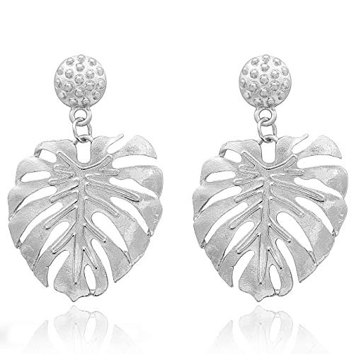 Gleamart Monstera Leaf Ohrringe Palm Leaves Hollow Dangle Ohrring für Frauen Silber