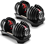 Gorilla Gadgets Adjustable Dumbbell 2.5-52.5 lb, Compact Gym Weight, 15 Weight Sets in One for Women and Men, Perfect for Home, Office, Traveling (52.5 lb, Double)