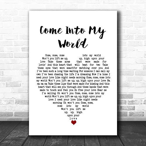 Kom in mijn wereld wit hart lied lyrische citaat muziek poster print Medium A4