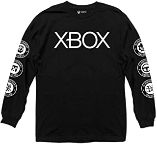 Xbox Adult Unisex Chest Logo Heavy Weight 100% Cotton Long Sleeve Crew T-Shirt