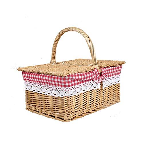 Preparación de picnic al aire libre de mimbre cesta de picnic cesta de mimbre tejida de la cesta de mimbre cesta de picnic con asas y sábanas de algodón Forro-cubierto grande Forro + blanco cesta picn