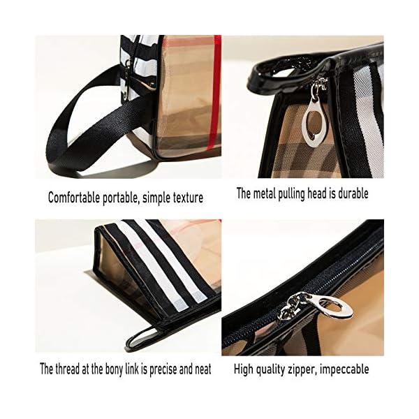 GOLIKEE 3PCS PVC Stripe Cosmetic Bag Makeup Bag Gift for Women Waterproof Zipper Multifunctional Transparent Travel…