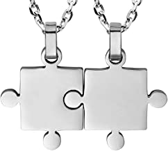 BANCHELLE Puzzle Style Necklace Best Friends Pendant Necklace Stainless Steel Jewelry (2 Pieces)