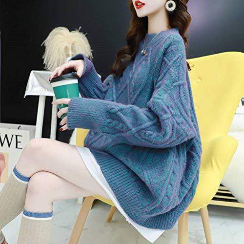 Golden_flower Herbst und Winter Große Rote Pullover Frauen Pullover Dicke Lose Gefälschte Zweiteilige Strickoberteilblauer See, Einheitsgröße