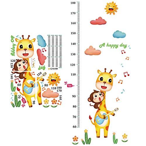 JIAJBG Gráfico de Crecimiento Gráfico de Altura para Niños Animales Personalizados Gráfico de Crecimiento Pegatina de Pared Regla de Pared para Niños Niñas Dormitorio...