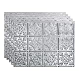 FASÄDE Traditional Style/Pattern 1 Decorative Vinyl 18in x 24in Backsplash Panel in Brushed Aluminum (5 Pack)