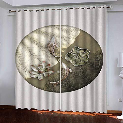 MMHJS Cortinas De Impresión Digital 3D Estilo Minimalista Moderno Sala De Estar Balcón Cortinas Verticales Opacas Aislamiento Térmico De Poliéster Y Cortinas Impermeables (2 Piezas)
