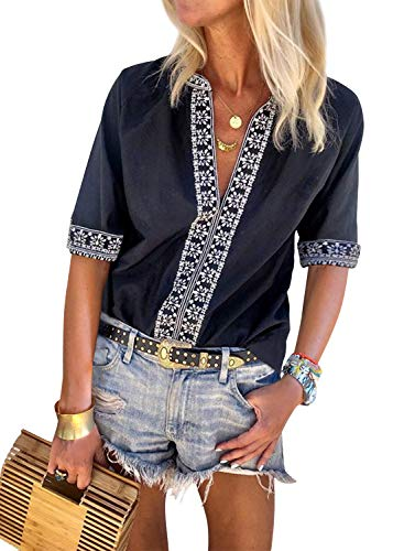 Aleumdr Women V Neck Floral Embroidered Print Chic Boho Half Sleeve Blouse Casual T-Shirts Black Small 4 6