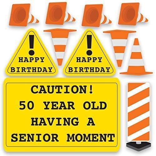 VictoryStore Caution 50 Year Old Having A Senior Moment, 50th Birthday Yard Decoration, 11pcs, 12370
