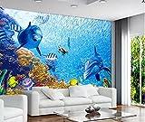 Restaurante Temático Acuario Papel Tapiz 3D Personalizado Personalizado Sala De Natación Papel Tapiz De Delfines Producción De Pintura-150Cmx105Cm