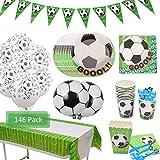 Amycute 146 Piezas 20 Invitados Vajilla de fútbol cumpleaños Adulto, Vajilla Diseño fútbol Verde...