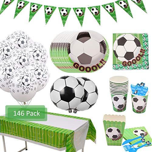 Amycute 146 Piezas 20 Invitados Vajilla de fútbol cumpleaños Adulto, Vajilla Diseño fútbol Verde Desechable Vasos, Platos, Servilletas, para Fiestas con Temas de fútbol, Fiestas de cumpleaños
