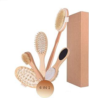 Lurrose 6PCS Dry Body Brushing Set Soft Bristle Massage Body BrushTool