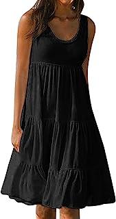 Masrin Sommerkleid für Damen Sommer einfarbiges ärmelloses Strandkleid für den Urlaub Gerüschtes Patchwork-Turmkleid Lockeres Trägerkleid A-Linien Kleid