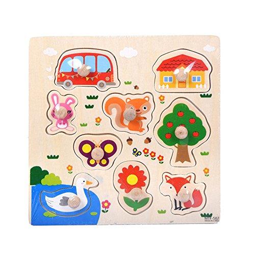Puzzel van hout, voor kinderen, educatief speelgoed, vroegtijdig leren, diermotief, gepersonaliseerd cadeau voor baby's