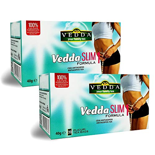 VEDDA Té para Adelgazar (40 Tazas de Té), Slim Tea Original Formula 1, Fat Burner para Bajar de Peso, Té de Pérdida de Peso y Desintoxicación, Té para Quemagrasa, (Paquete de 2, Total de 40 Bolsitas)