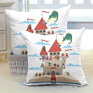 DuckBaby Kids Queen Size Personalized Pillowcase Fairy Tale Story Book Castle King Queen Princess Dragon Witch Knight Wizard Vikings Theme Print Soft and Durable W24 x L24 inch x 2