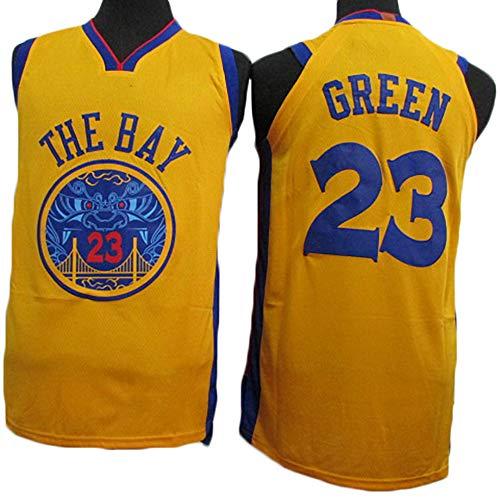 Maglie da Basket da Uomo, Golden State Warriors # 23 Draymond T-Shirt Classica Verde, Ventilatore Resistente all'Usura Ricamato,Beige,S
