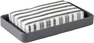 mDesign Modern Decorative Metal Guest Hand Towel Storage Tray Dispenser, Sturdy Holder for Disposable Paper Napkins - Bathroom Vanity Countertop Organization - Matte Slate