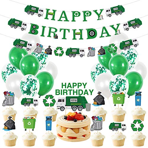 WINDASUN 32 Pcs Garbage Truck Party Decorations for Birthday Party,with Trash Truck Banner Balloon Cake Flag