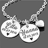 Namenskette 925 Silber Silberkette mit Namen Zwillinge Echtschmuck Kette mit Gravur Geburt personalisiert Geschwister Familie Schmuck| HANDMADE IN GERMANY