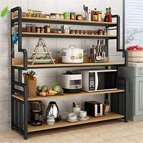 Estante de cocina Piso Multi capa Gabinete de almacenamiento Mueble Multifuncional Horno Horno Microondas Estante del horno Estante de almacenamiento de cocina ( Color : Black , Size : 155x40x100cm )