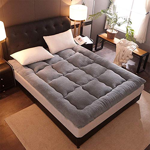 weiwei Foldable Thicken Fleece Winter Bed Sleeping Mattress Pad Rug Tatami Carpet Student Sleeper Bed Cushion Mats Twin/Queen/King,grey,120x200cm
