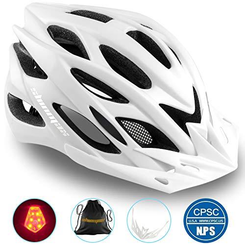 Shinmax Fahrradhelm,CE-Zertifikate,Specialized Cycle Helm mit Sicherheitsleuchte Integrally Bike Helm Adult Bike Helm mit Abnehmbarem Visier und Liner