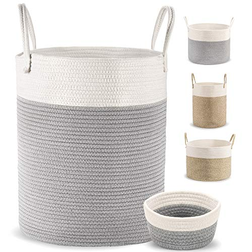 Deco haus Wäschekorb aus Baumwolle 46x38cm - Für Aufbewahrung von Wäsche, Bücher, Spielzeug, Decken, Kissen etc. - Faltbar, robust, praktisch - Stylisch, neutrale Farben - Handgemacht, chemiefrei
